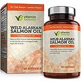 Omega 3 Fish Oil from Wild Alaskan Salmon - High in EPA, DHA, Omega 3, 6 and 9 - Vitamin Bounty