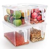Xnuoyo Recipientes De Plástico Reutilizables, Organizador De Almacenamiento De Alimentos Cajas Organizadoras De Refrigerador Apilables Recipientes De Cocina Con Tapa De Asa Para Frutas Verduras-4PCS