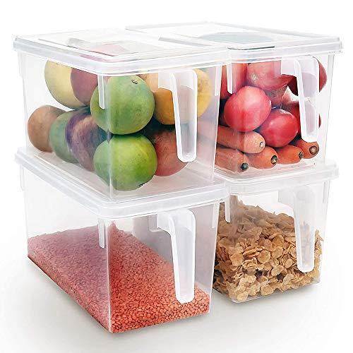 Xnuoyo Wiederverwendbare Kunststoff-Aufbewahrungsbehälter, Lebensmittellager-Organizer Stapelbare Kühlschrank-Aufbewahrungsboxen Küchenbehälter mit Griffdeckel für Obst Gemüsefleisch Ei-4PCS