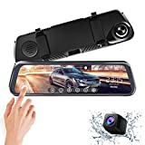 ALWEEN 10 inch Mirror Dash Cam Touch Full Screen ; 1080P 170° Full HD Front Camera;1080P 140°Wide Angle Full HD Rear View Camera;Time-Lapse Photography