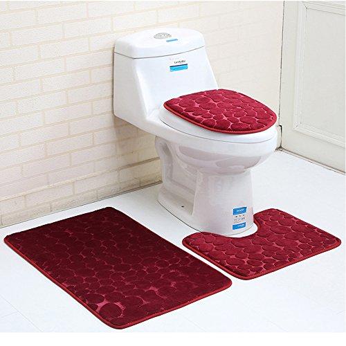 3 Stück rutschfeste Ständer Badematten Set atmungsaktivem Memory-Schaum Bad-Teppiche angenehm weiches Wasser saugfähig WC Badezimmer Teppich Rutschfest Ständer Unterstützung (3er Set Weinrot)