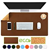 Aothia Eco-Friendly Natural Cork & Leather Double-Sided Office Desk Mat 31.5' x 15.7' Mouse Pad Smooth Surface Soft Easy Clean Waterproof PU Leather Desk Protector for Office/Home Gaming (Brown)