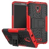 TiHen Funda Alcatel Pop 4 Plus 360 Grados Protective con Pantalla de Vidrio Templado. Caso Carcasa Case Cover Skin móviles telefonía Carcasas Fundas para Alcatel Pop 4 Plus - Roja