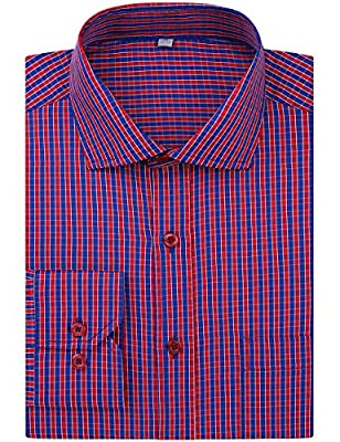 DOKKIA Men's Formal Business Long Sleeve Plaid Striped Poplin Dress Shirt