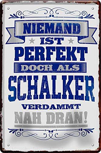 Blechschild Niemand ist perfekt, doch als Schalker. 20 x 30 cm Spruch Deko 631