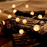 Globe String Lights for Bedroom, Decorative Lights, Christmas Lights, HuTools Crystal Crackle Ball Lights 10Ft 30 LED Soft White Battery Operated Fairy Lights Perfect for Home Decor