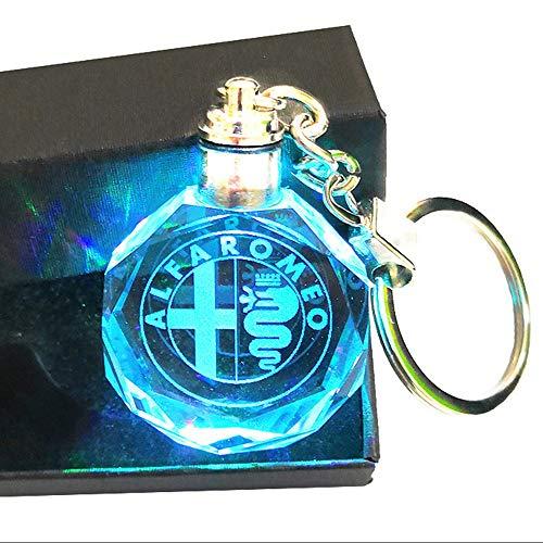 VILLSION LED Auto Logo Portachiavi Luce con Emblema Cristallo Portachiavi, 7 Colori Luce con Confezione Regalo