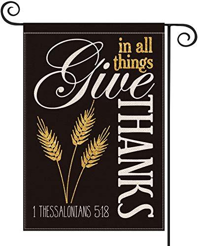 Bandera de jardín con orejas de trigo de Acción de Gracias, vertical, otoño, dar gracias en todas las cosas, decoración al aire libre, 28 x 40 pulgadas
