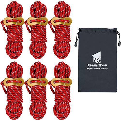 GEERTOP テント ロープ 4mm*4m 6本 セット 反射材入り パラコード ガイライン ガイドロープ タープロープ アルミニウム自在金具 収納袋付き (レッド)