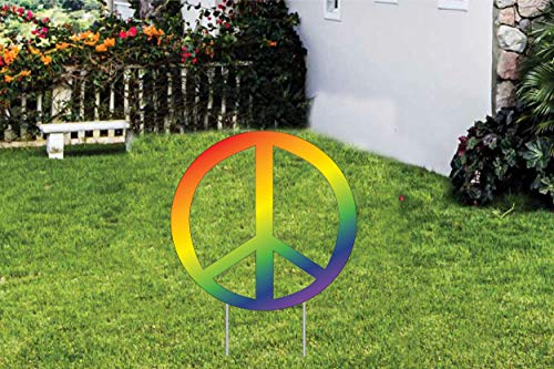 """Peace Lawn Sign Tide Dye Peace Sign Yard Sign with Stakes 