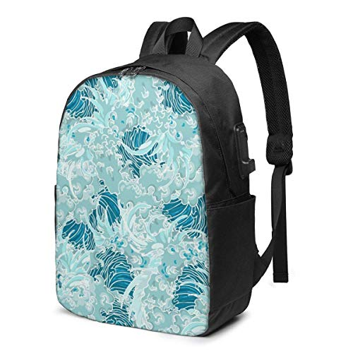 Realisticdetailed Hand Drawn Art Japan Laptop Backpack Durable Laptops Backpack with USB Charging Port College School Computer Bag and Notebook Bl