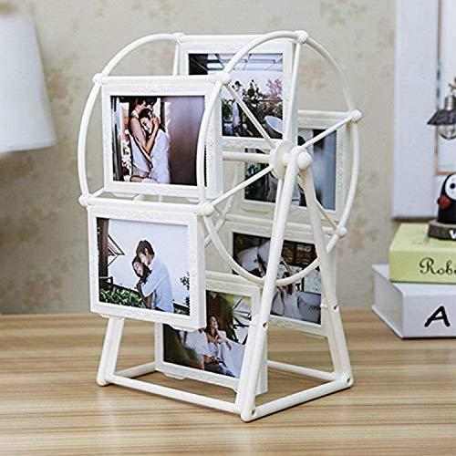 Chengcunxing Es una opción Creative Plastic Rotating Photo Frame 5 Photo Retro Ferris Wheel Windmill Photo Frame (Blanco), Lugar: Escritorios y mostradores for Invitados, dormitorios y Otros.