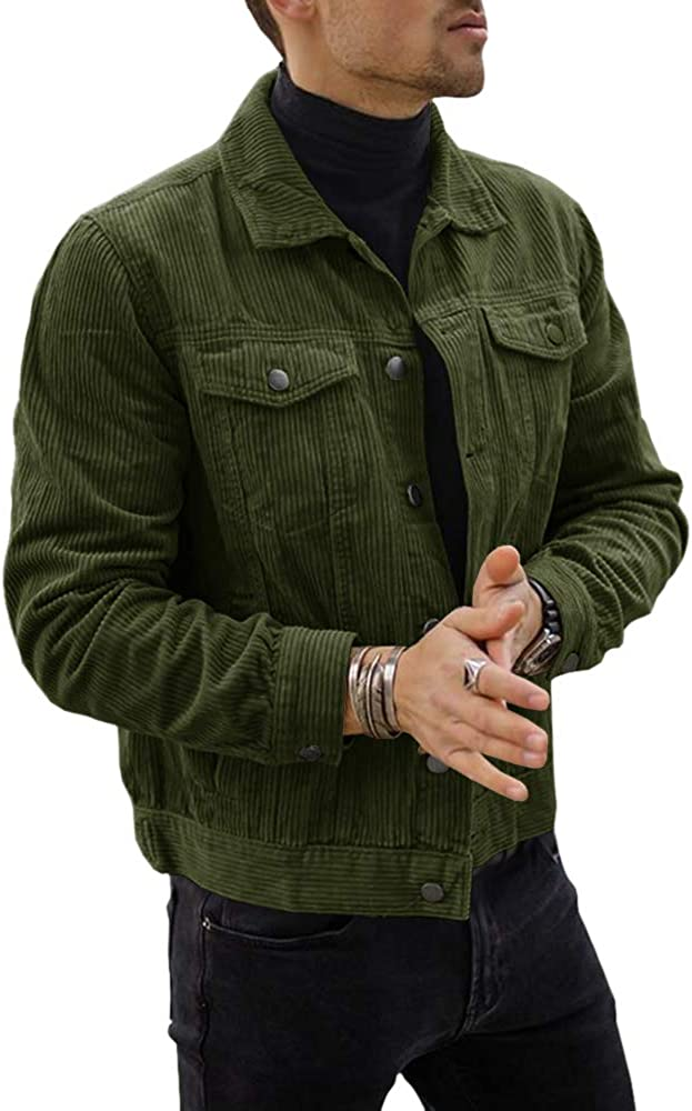 Mens Casual Trucker Jacket Slim Fit Corduroy Button Down Fall Winter Chunky Coat