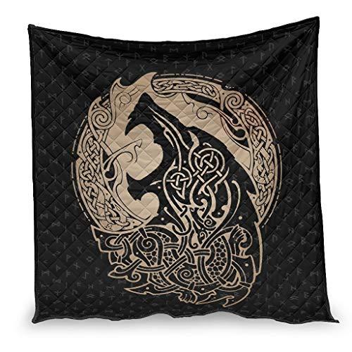 Dessionop Wikinger Wolf - Nodi celtici Fathurk Runen, stampa del condizionatore di lusso, per la casa, 200 x 230 cm, colore: Bianco