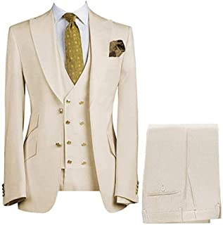 Men's Suits Regular Fit 3 Piece Notch Double Breasted Prom Tuxedos for Wedding (Blazer+Vest+Pants)
