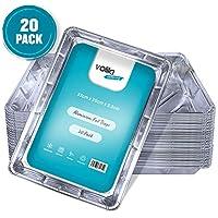 Bandejas de aluminio desechables, contenedores grandes para hornear, cocinar, congelar y almacenar, 32 cm x 20 cm x 3,3 cm Paquete de 20