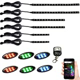 JXOFROAD 12PCS Motorcycle led Accent Lights,4-pin Connector Waterproof Flexible led Lights Strip Motorcycle,RGB Multi-Color led underglow kit Motorcycle with Wireless Remote and App Controlled