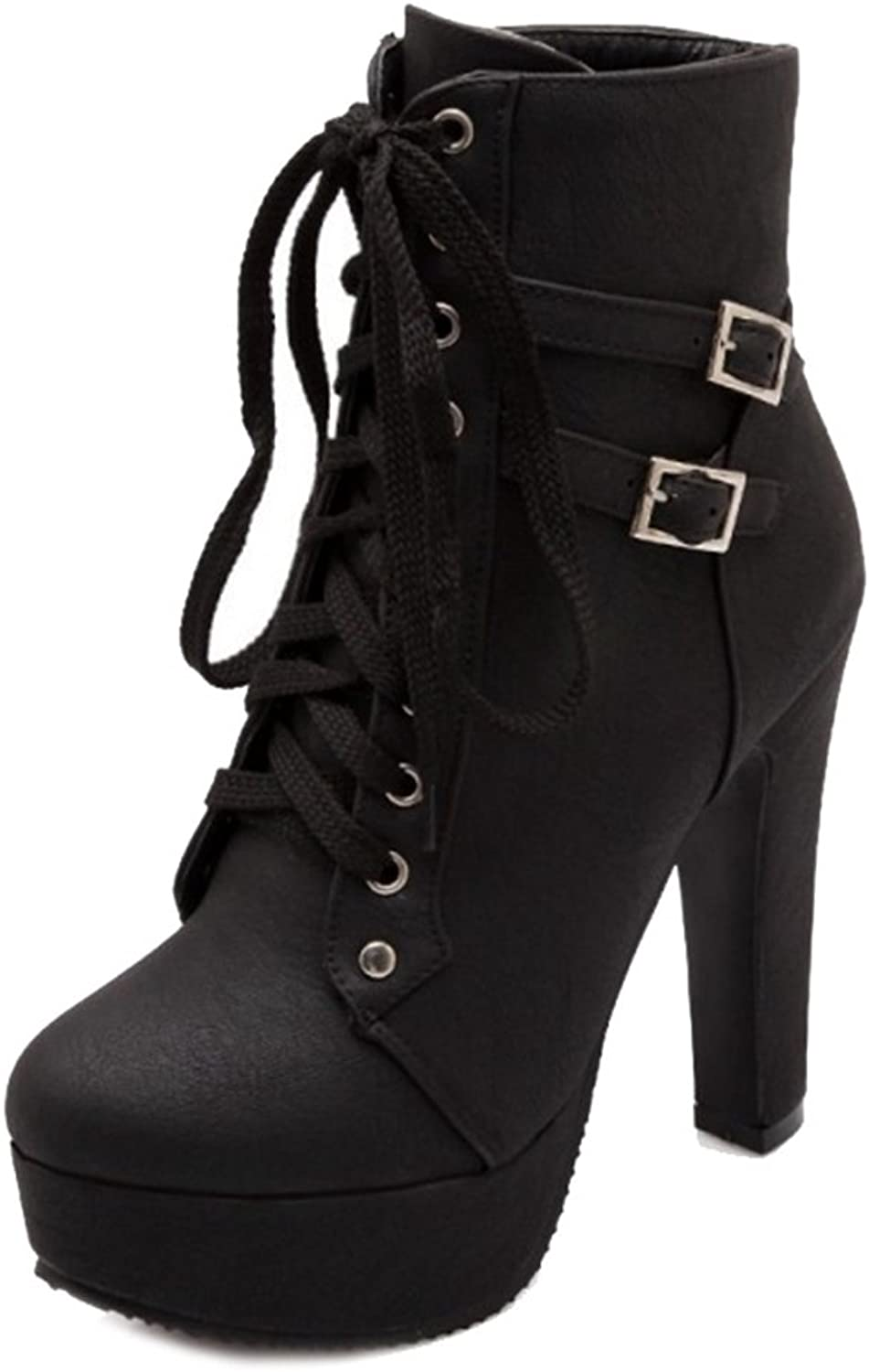 Smilice Large Size & Small Size Women Lace-up Platform Boots High Block Heel Ankle Booties Black