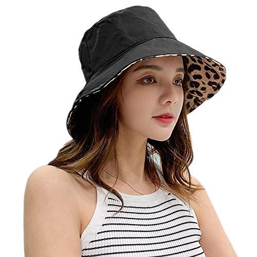 Xiangmall Sombrero De Sol Estampado de Leopardo Sombreros De Playa Plegable Gorra de Verano Plegable De ala Ancha Protección UV (Negro)