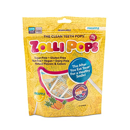 Zollipops Clean Teeth Lollipops | Anti-Cavity, Sugar Free Candy with Xylitol for a Healthy Smile - Great for Kids, Diabetics and Keto Diet (Pineapple, 3.1oz)