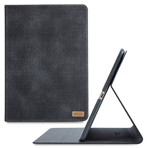 TORRAS Neues iPad 9.7 Zoll 2018/2017 Hülle, Ultra Dünn Smart Case Denim Hochwertiges PU Leder Schutzhülle mit Ständer & Auto Einschlaf/Aufwach Funktion Hülle für Neu iPad 9.7 2018/2017 - Schwarz