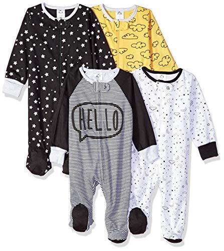 Gerber Baby Boys' 4 Pack Sleep N' Play Footie, Star, 0-3 Months