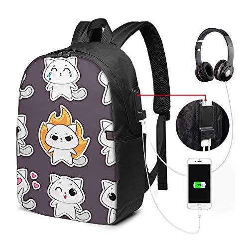 Zaino Antifurto Con Porta USB, Animal Set Cat Emotions Zaino per PC Computer Portatile 17 Pollici, Zaino per Laptop Da Uomo Donna per Scuola, Business, Viaggio