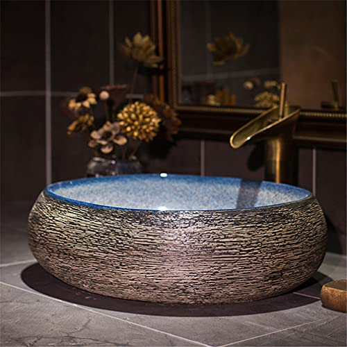 Estilo Europeo Cerámico Lavabo Retro Lavabo sobre Encimera Oval Arte Fregadero Liso Pared Interior Baño Lavabo, 50x40x15 Cm