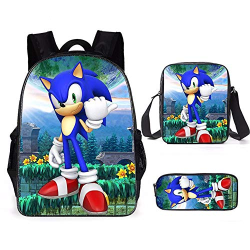 Lote de 3, Sonic Mochila, Bolsas de Hombro y Estuche para lápices (A)