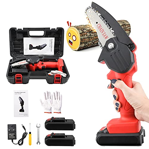 Mini Chainsaw Cordless, 21V Battery Powered Chainsaw, Handheld Pruning Shears Chainsaw, 4-Inch Small Portable Electric Chainsaw, One-Hand Operated Wood Saw for Garden BushTree Trimming Wood Cutting