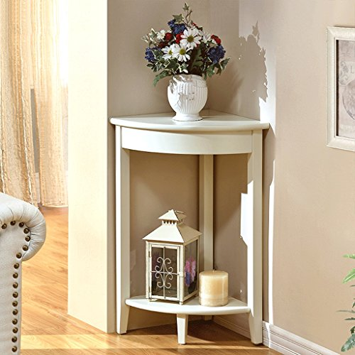 Nordique solide bois coin salon étagères chambre fleur stand simple moderne coin étagère de stockage rack ( Color : White )