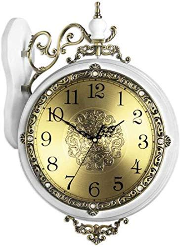 Orologio da parete moderno retrò Orologio da parete su due lati orologio Orologio da parete di stile europeo Soggiorno Mute legno della vigilanza della parete di personalità creativa Double-sided clas
