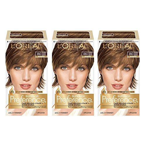 L'Oréal Paris Superior Preference Fade-Defying + Shine Permanent Hair Color, 6.5G Lightest Golden Brown, 3 COUNT Hair Dye