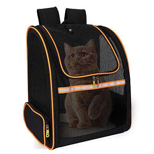 FREESOO Transporttasche für Katzen, Hunde Schultertasche, Rucksack für Tiere, atmungsaktiv, Transportkörbe mit Fenster aus Netz, für Reise im Zug, Auto, Flugzeug, Schwarz, 47 x 36 x 27 cm