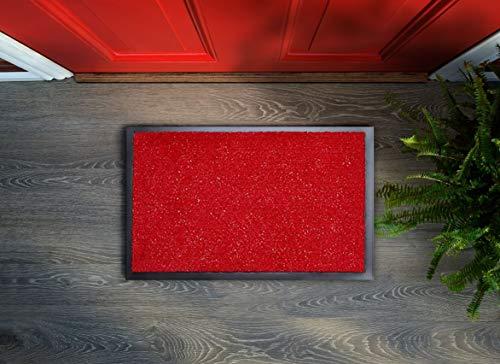 Zerbino in tessuto cattura lo sporco – con fili glitterati, 40 x 60 cm, lavabile, antiscivolo, facile da pulire, tappetino per ingresso, tappetino per interni ed esterni (rosso, 60 x 90 cm)