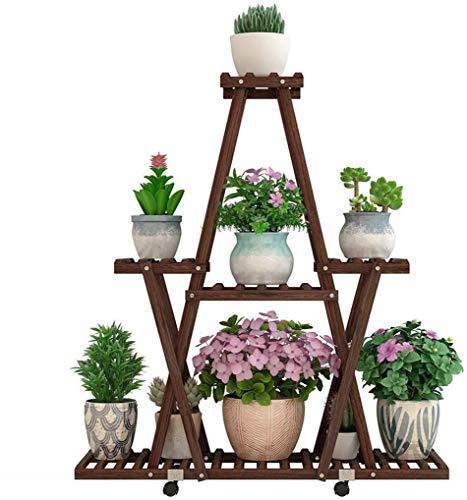 Bloemenstandaard- Houten Stand Bloem Met Katrol Bloempot Stand Multi-layer huiskamer Tribune van de bloem Floor Plant Stand Binnen en buiten Simple Multifunctioneel Plant Display Stand, Kleur: Dark Br
