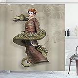 N\A Cortina de Ducha de fantasía, Geisha Occidental con Maquillaje de llanto Envuelto por un dragón en Espiral, Conjunto de decoración de baño de Tela con Ganchos, cáscara de Huevo Verde