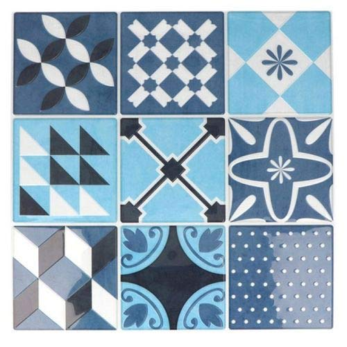 Stickers carreaux de ciment 8 cm - Bleu - 18 carreaux