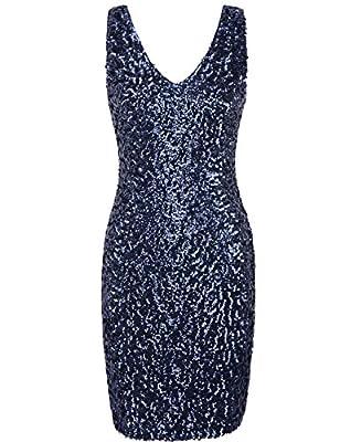 PrettyGuide Women Sexy Deep V Neck Sequin Glitter Bodycon Stretchy Mini Party Dress XL Navy