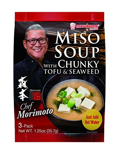 Marukome Chef Morimoto, Miso Soup with Tofu and Seaweed, 1.25 Oz (Pack of 12)