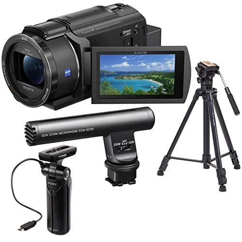 Sony FDR-AX43 Ultra HD 4K Handycam Camcorder - Bundle ECM-GZ1M Zoom Microphone, GPVPT1 Shooting Grip with Mini Tripod, Takama Video Tripod