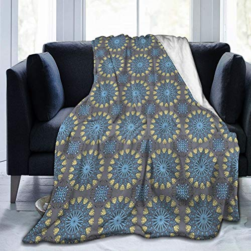 Manta de forro polar para adultos, mujeres y hombres, manta de microfelpa con mangas, bata grande estilo árabesco, inspirado en mandala, motivos circulares étnicos antiguos de 80 x 60 pulgadas
