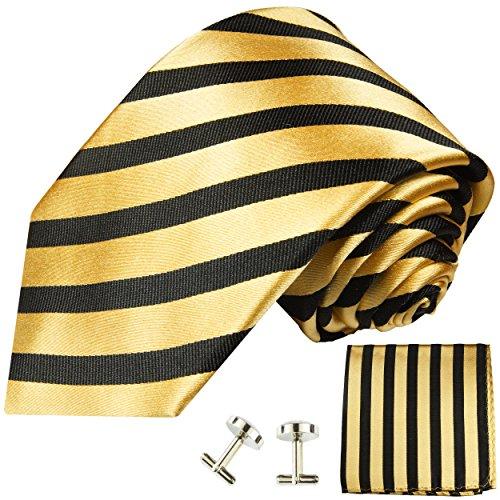 Cravate homme or noir rayures ensemble de cravate 3 Pièces ( longueur 165cm )