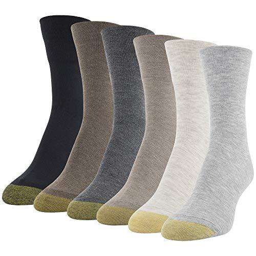 Gold Toe Women's Ultra Soft Mid Crew Socks, 6-Pairs, Light Grey Assorted, Medium