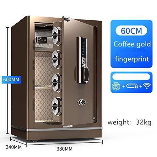 Fingerabdruck-Passwort Digital Safe Box, 45cm / 60cm Einbrecher Hotels Nacht Alarm Warnung Safes CPU Semiconductor Safe für Home Office,Coffee/fingerprin,60CM