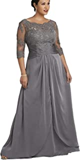 kxry Women's Long Grey Plus Size Mother of The Bride Dress Half Sleeve Lace Evening Party Prom Dresses