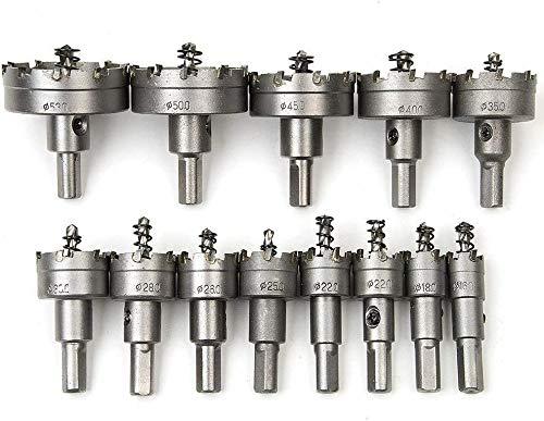 Juego de 13 sierras de corona de 16 mm - 53 mm, acero inoxidable, punta de metal TCT, broca de metal