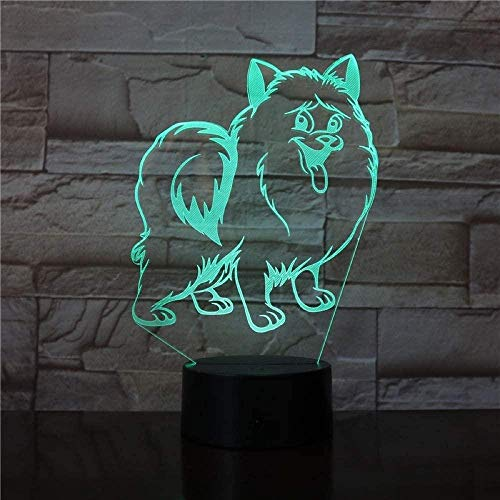 Ling Cute Dog 3D Night Light Illusion Lamp For Christmas Suitable For Boys And Girls Bedroom Bar Living Room Birthday Christmas Gifts Usb Charging Touch Mode 7 Color Variations