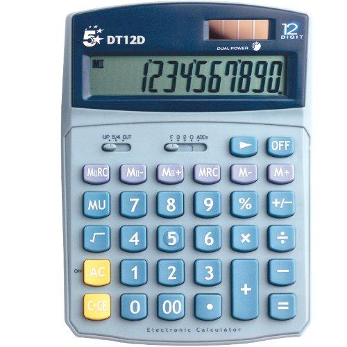 5 Star rekenmachine, werkt op batterij/op zonne-energie, tweepcijferig 2 3 toetsen geheugen