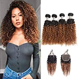10. Ombre Kinky Curly 4 Bundles with Closure 100% Unprocessed Virgin Human Hair (18182020+12,1B/30) Wet and Wavy Ombre Brazilian Kinky Curly Human Hair Weaves